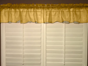 "Sheer Organza Window Valance 58"" Wide Solid Gold"