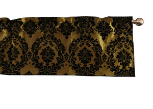 "Flocked Damask Window Valance 58"" Wide Gold"
