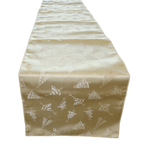 Brocade Table Runner Christmas Holiday Collection Glittery Trees Gold