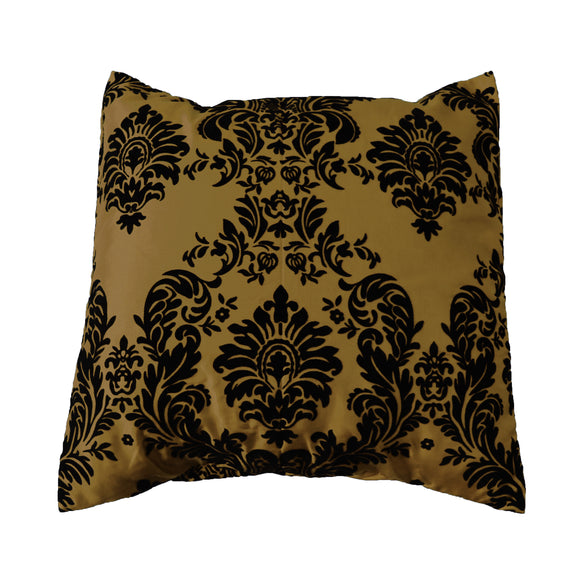 Flocked Damask Decorative Throw Pillow/Sham Cushion Cover Black on Gold