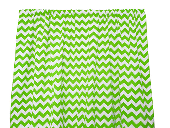 Cotton Zig-zag Chevron Window Curtain 58 Inch Wide Green