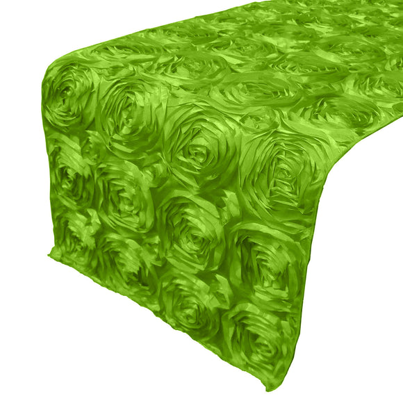 Satin Rosette Table Runner Raised Roses Lime Green