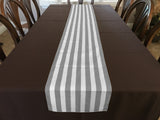 Cotton Print Table Runner 1 Inch Wide Stripes Grey