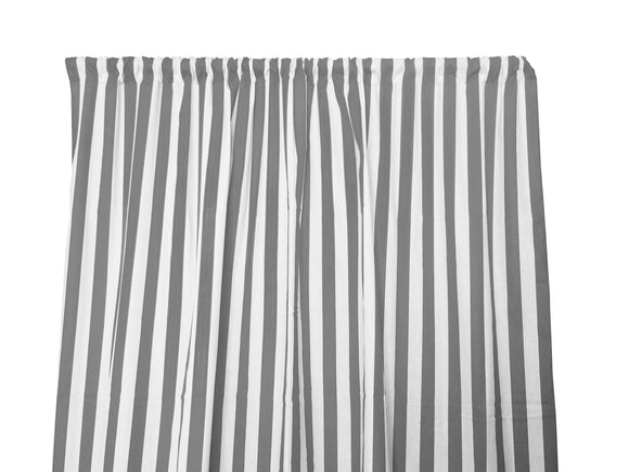 Cotton Stripe Window Curtain 58 Inch Wide 1 Inch Stripe Grey and White