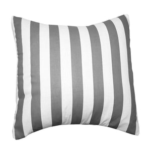 Cotton 1 Inch Stripe Decorative Throw Pillow/Sham Cushion Cover Grey and White
