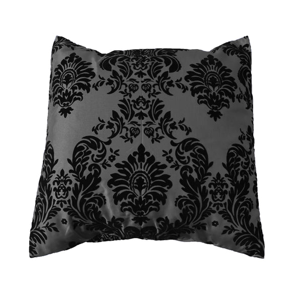 Flocked Damask Decorative Throw Pillow/Sham Cushion Cover Black on Grey