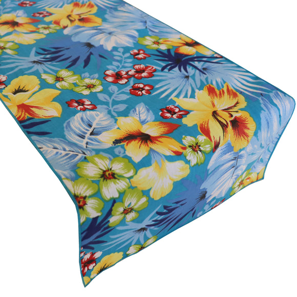Cotton Print Table Runner Floral Tropical Hawaiian Aqua