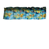 "Cotton Hawaiian Tropical Floral Window Valance 58"" Wide Aqua"
