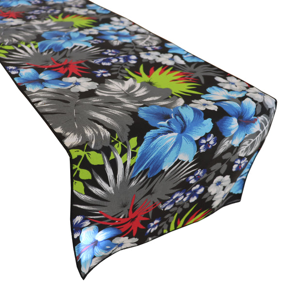 Cotton Print Table Runner Floral Tropical Hawaiian Black