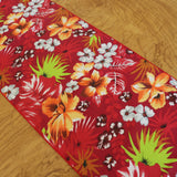 Cotton Print Table Runner Floral Tropical Hawaiian Red