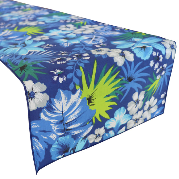 Cotton Print Table Runner Floral Tropical Hawaiian Royal Blue