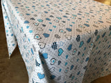 Cotton Hearts and Dots Tablecloth Blue