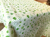 Cotton Hearts and Dots Tablecloth Green