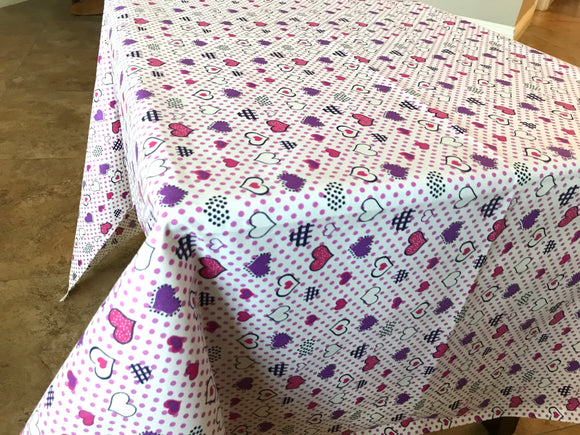 Cotton Hearts and Dots Tablecloth Purple