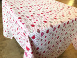 Cotton Hearts and Dots Tablecloth Red