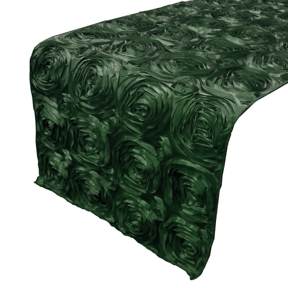Satin Rosette Table Runner Raised Roses Hunter Green