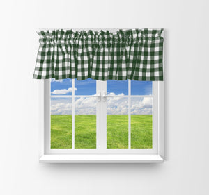 "Cotton Gingham Checkered Window Valance 58"" Wide Hunter Green"