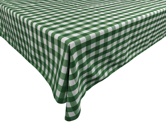 Poplin Gingham Checkered Plaid Tablecloth Hunter Green