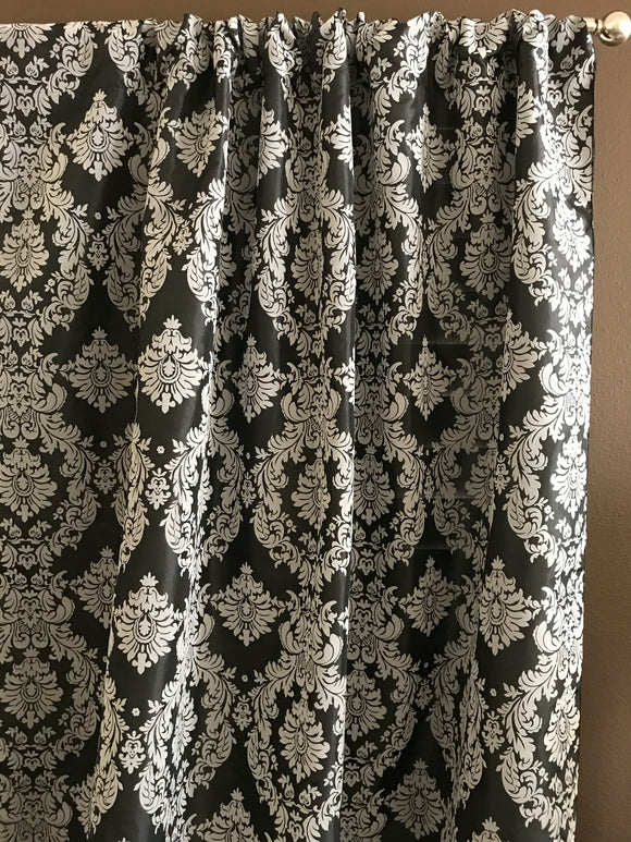 Flocking Damask Taffeta Window Curtain 56 Inch Wide Grey on Black