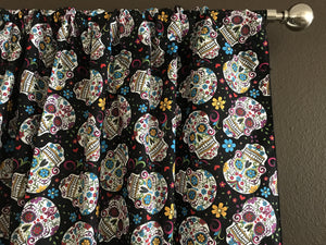 "100% Cotton Window Valance 42"" Wide Day of the Dead Sugar Skulls Black"