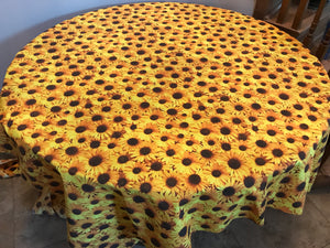 Cotton Sunflowers Allover Tablecloth