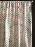 Cotton Polka Dots Window Curtain 58 Inch Wide Small Dots Red on White