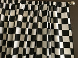 Cotton NASCAR 2 Inch Checkerboard Window Curtain 58 Inch Wide Black and White