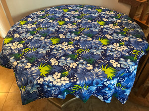 Cotton Hawaiian Floral Tablecloth Royal Blue