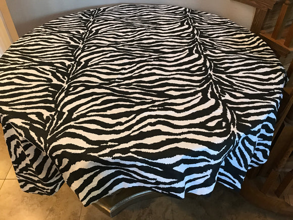 Cotton Zebra Stripes Tablecloth Black and White