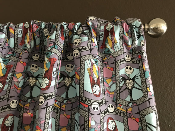 100% Cotton Window Valance Nightmare Before Christmas Jack and Sally 42