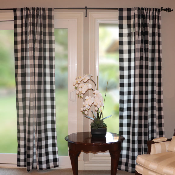 Poplin Buffalo Checkered Window Curtain 56 Inch Wide Black and White