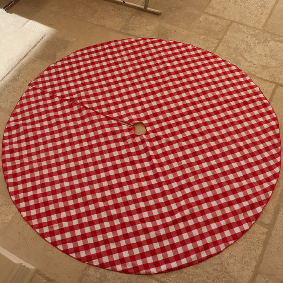 Gingham Checkered Tree Skirt Christmas Decoration 58