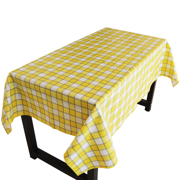Yellow Plaid Checkered PVC Plastic Tablecloth / Table Cover with Nonslip Flannel Backing