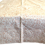 Floral Vines Beige PVC Plastic Tablecloth / Table Cover with Nonslip Flannel Backing