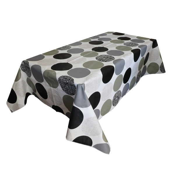 Large Dark Circles PVC Plastic Tablecloth / Table Cover with Nonslip Flannel Backing