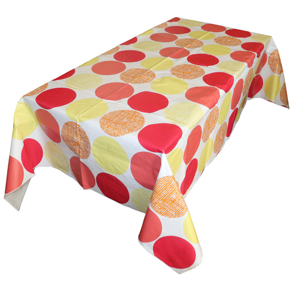 Large Warm Circles PVC Plastic Tablecloth / Table Cover with Nonslip Flannel Backing