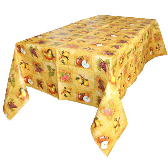 Sliced Fruits PVC Plastic Tablecloth / Table Cover with Nonslip Flannel Backing