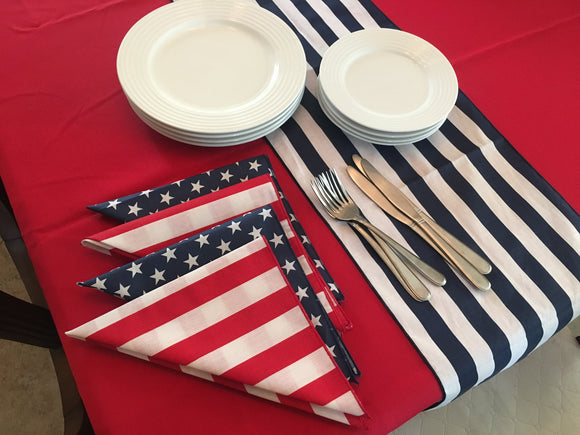 Table Set 4th of July Decor includes 1 Solid Red Tablecloth, a Set of Napkins (half red/white stripe and half navy blue star) and 1 Table Runner of your Choice
