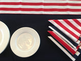 Table Set 4th of July Decor includes 1 Navy Polyester Tablecloth, a Pack of Stripe Napkins and 1 Red and White Striped Runner
