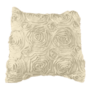 Satin Rosette Decorative Throw Pillow/Sham Cushion Cover Ivory
