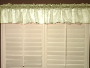 "Sheer Organza Window Valance 58"" Wide Solid Ivory"