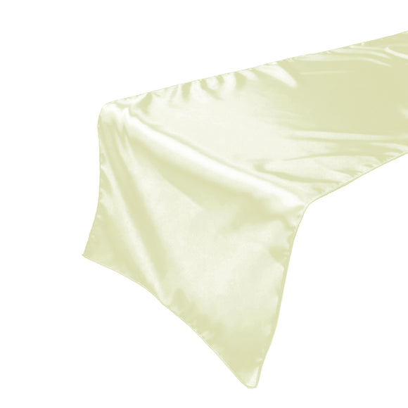 Shiny Satin Table Runner Solid Ivory