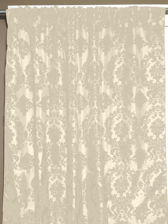Flocking Damask Taffeta Window Curtain 56 Inch Wide Ivory on Ivory