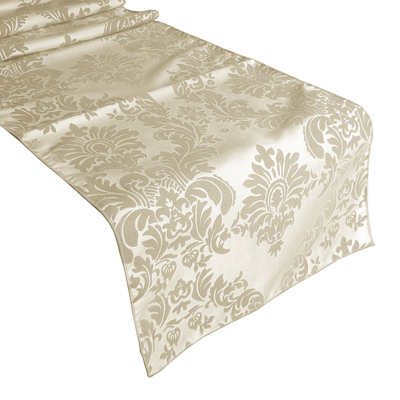 Flocked Damask Table Runner Ivory on Ivory