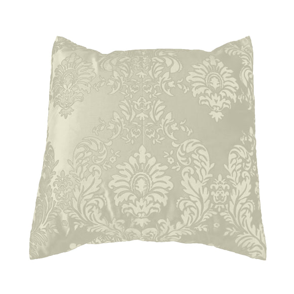 Flocked Damask Decorative Throw Pillow/Sham Cushion Cover Ivory on Ivory