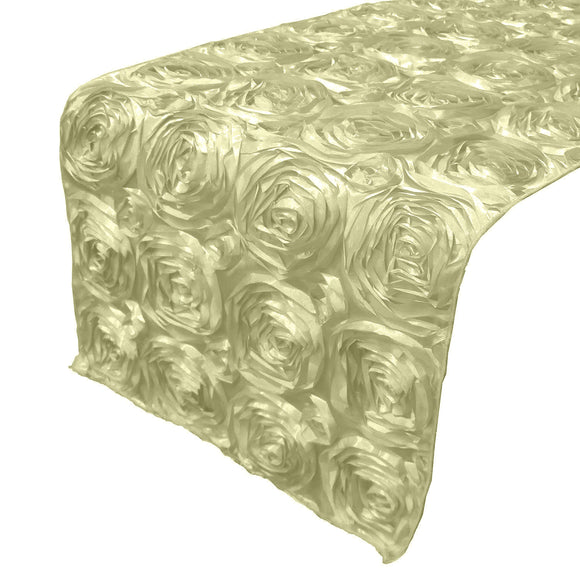 Satin Rosette Table Runner Raised Roses Ivory
