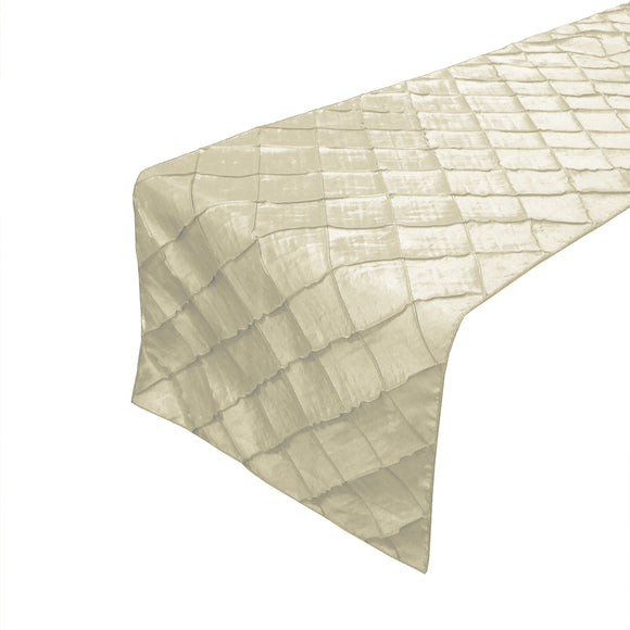 Pintuck Taffeta Table Runner Ivory