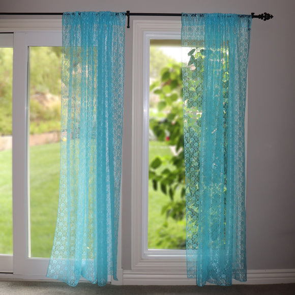 Floral Lace Window Curtain 58 Inch Wide Aqua
