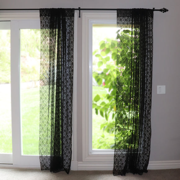Floral Lace Window Curtain 58 Inch Wide Black