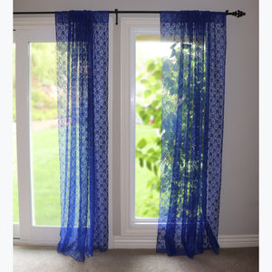 Floral Lace Window Curtain 58 Inch Wide Royal Blue